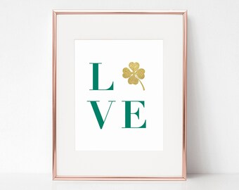 """LOVE, St. Patrick's Day 8""""x10"""" Wall Art by Arbor Grace Collections"""