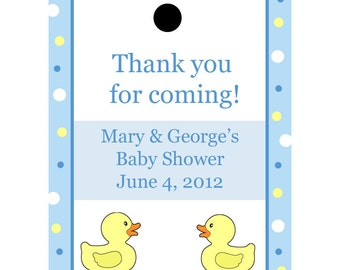 24 Personalized Baby Shower Favor Tags  Blue Rubber Ducky