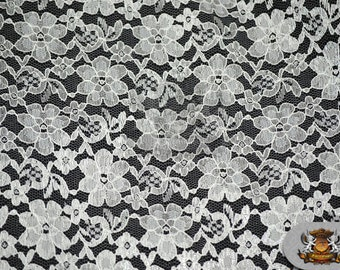 "Lace Floral Rachelle Fabric WHITE / 60"" Wide / Sold by the yard"