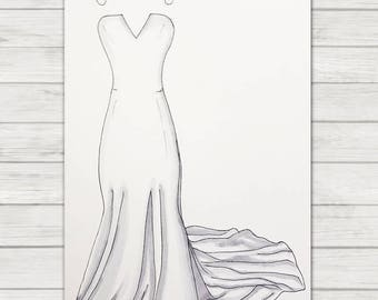 Wedding Dress Illustration | Bridal | Wedding | Anniversary Gift | Wedding Gift | Wedding Dress | Anniversary | Wedding Drawing