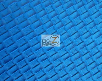 Lattice Basket Weave Upholstery Vinyl Fabric - BLUE - By The Yard Embossed PU Leather
