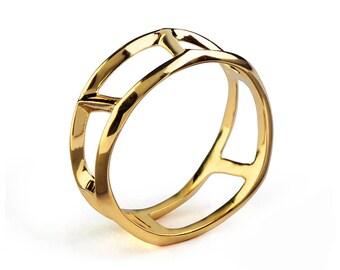 DANDY Unique Mens Wedding Band, Gold Mens Wedding Band, Mens Wedding Ring, Gold Mens Ring, Gold Mens Band, Ring for Men