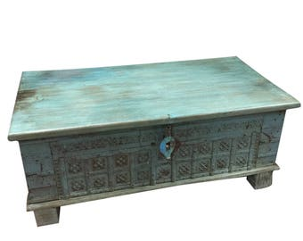 Vintage Trunk Blue Distressed Coffee table, chest Table , chai table Old Pitara Iron nailed Eclectic Interior FARMHOUSE Eclectic