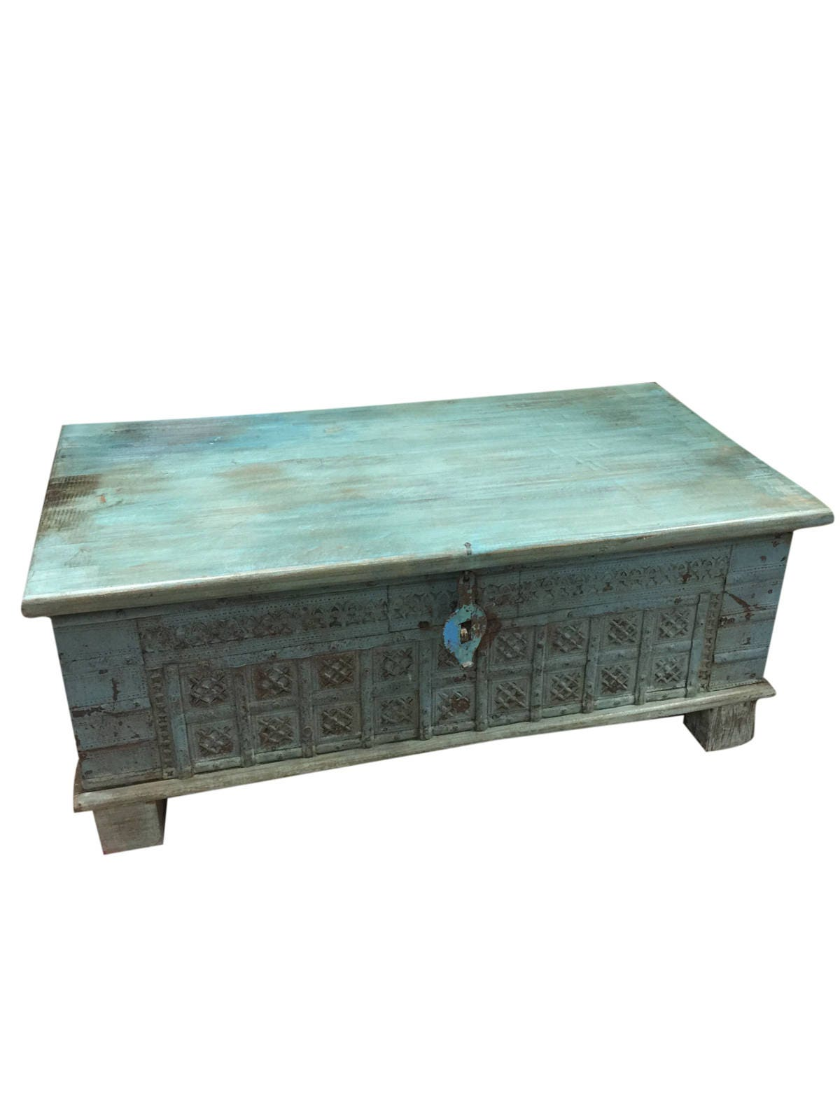 Vintage Trunk Blue Distressed Coffee table chest Table chai