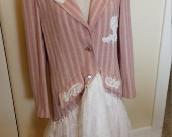 Pink Pleasure, Altered, Vintage, Shabby sheik, country, Victorian, Womens clothing, Jacket Dress.