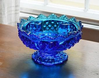 Fenton Hobnail Colonial Blue Glass Footed Candelabra, Cobalt Sapphire Blue Glass Candle Holder Flower Bowl, Wedding Shower Gift for Her