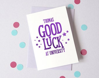 Good Luck at University Card– Personalised Back to School Card – First Day at College - Good Luck Card - Card for Student