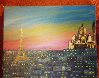 Paris Sunset Acrylic Painting.