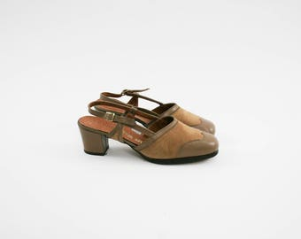 Vintage 1970's High Heel's - Brown Suede Leather - Sling Back Pump - Wing Tip - Checkered Interior -  Women's EU 38 US 7 UK 5