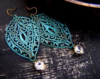Filigree Earrings Swarovski Heart Earrings Verdigris Earrings Romantic Earrings Vintage Swarovski Rhinestone Earrings Patina Earrings Boho