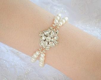 Swarovski Pearl Bridal Bracelet, Vintage Style Crystal Flower Wedding Bracelet, Victorian Style Wedding Jewelry, Silver Jewelry, JOCELYN