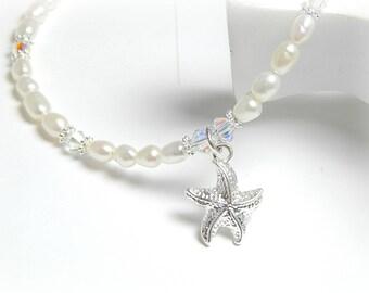Starfish Anklet, Freshwater Pearl Anklet, Swarovski Crystal, Bridal Anklet, Beach Anklet, Sterling Silver Anklet, Adjustable Anklet