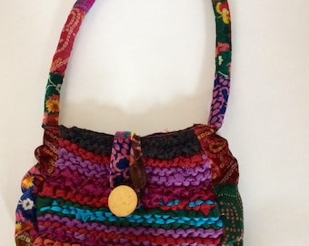 Hand made funky vintage fabric shoulder bag.