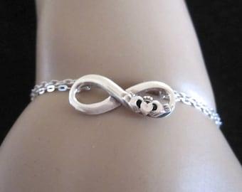 Irish CLADDAGN INFINITY ETERNITY love symbol sterling silver bracelet, friendship, love bracelet