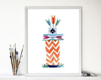 art print Totem no. 5 arrows, watercolor print ,kids room art, modern tribal art, nursery decor, Southwest print, boys room, thejoyofcolor