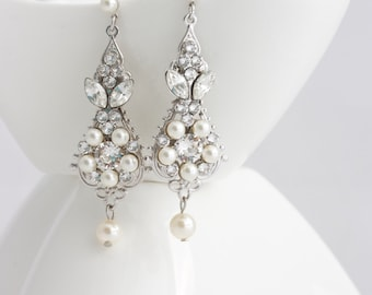 Pearl and Crystal Wedding Earrings Vintage Bridal Earrings Small Chandelier Earrings Classic Wedding Jewelry  Swarovski Crystal PARIS