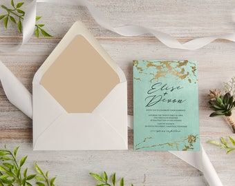 Aqua and Gold Marble Calligraphy Wedding Invitation Suite, Custom, Traditional, Envelope Liner, Initials,  Made To Order   Deposit