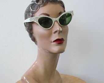 vintage 1950s cat eye glasses / 50s swank frames france eye glasses / 50s cat eye glasses made in france / pearl white rhinestone eyeglasses
