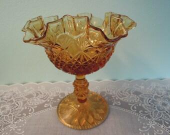 Vintage Fenton Glass - Fenton Olde Virginia Amber Glass Comport - Fenton Glass - Amber Glass Comport - Fenton Amber Comport- Carnival Glass