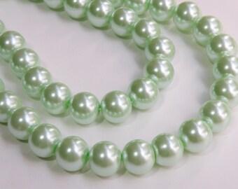 Mint green glass pearl beads round 14mm full strand 1999GL