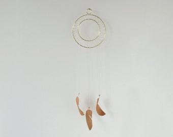 Wood Feather Hanging - Brass Geometric Wall Hanging - Minimal Wall Art - Wall Decor