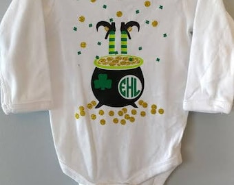 St. Patrick's Day Pot of Gold/ Monogrammed Pot of Gold/ Boy St. Patrick's Day Shirt/ Girl St. Patrick's Day Shirt/