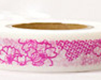 Japanese Washi Masking Tape - Pink Flowers - Yamada