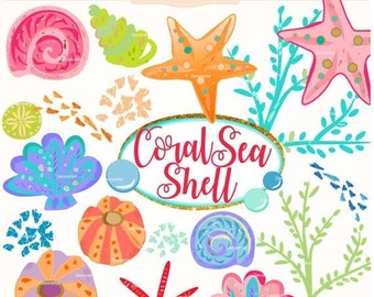 ON SALE,.Summer Coral clipart, sea shell clipart, summer Undersea Digital clipart, seashell digital clipart, instant download