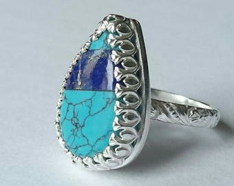 Sterling silver handmade lazurite turquoise ring, hallmarked on Edinburgh