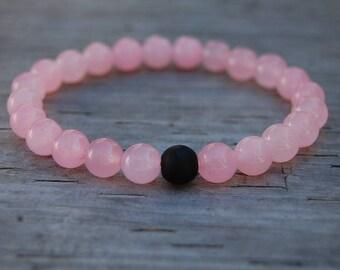 Pink Crystal Bracelet,8mm Gemstone Beads,Pink Bracelet,Spirituality,Prayer,Good Luck Bracelet,Yoga,Protection,Woman,Girl,Meditation,Gift