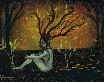 Autumn melancholy - forest dryad - print from original painting - on 27,2 x 20,2 cm - about A4