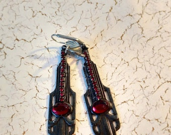 Black Art Deco earrings with blood red cabochon and swarovski rhinestones