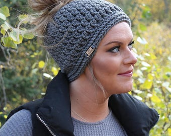 Grey messy bun hat   Women's crochet hat   Women's crochet beanie   Crochet hat   Messy bun hat   Ponytail hat   Crochet accessories