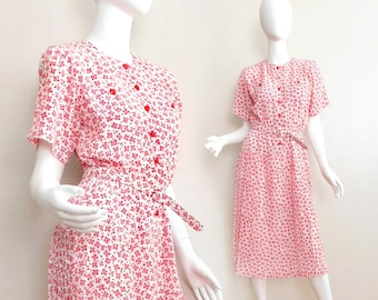 Sz 4 P Vintage 80s Secretary Dress - Petite Women's Red and White Ditsy Floral Print Pleated Belted Button Front Midi Dress