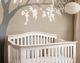 Weeping Willow Tree Decal With Leaves, Willow Tree Wall Decal, Leaves Wall  Decal,