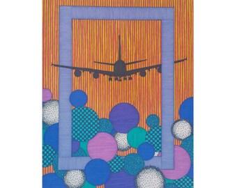 Airplane 5x7 Card, Blank Greeting, Plane Notecard, Gift For Pilot, Flight Attendant, Aviation Card, Flying Lover, Orange Blue Card, Modern