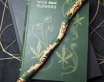 English Ivy Wood Leaf and Spiral Wand - Tenacity, Transformation - Pagan, Wicca, Witchcraft, Folk Magic