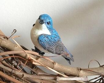 2Pk l'Hirondelle à gorge blanc, Clip sur oiseau décorations, couronne de décoration, décoration de Cage à oiseau, décoration de nichoir, ornement de Noël