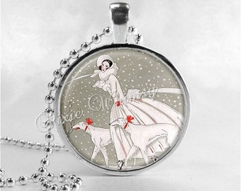 ART DECO CHRISTMAS Necklace, Woman and Borzoi Dog, Christmas Necklace, Christmas Jewelry, Vintage Christmas, Art Deco Necklace