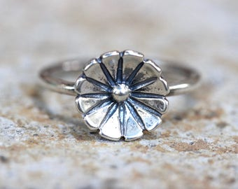 Sterling Silver Flower Ring Sterling Silver Ring Silver Stacking Rings Stacking Ring Silver Flower Stacking Ring Flower Ring Flower Rings