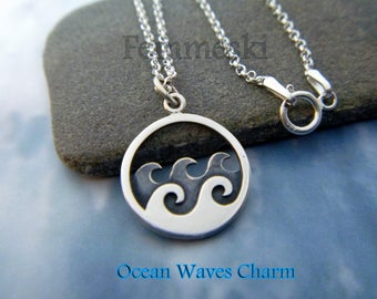 Wave Necklace - 925 Sterling Silver Ocean Waves Pendant - Surfer Necklace - Sailing Jewelry - Wanderlust Necklace - Beach Lover Jewelry