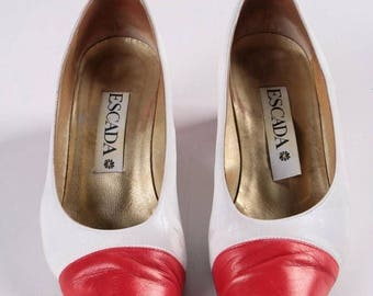 Vintage Escada 2 tones white /red women shoes