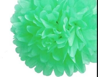 Wholesale Lot of THREE Tissue Paper Flower Pom Poms MiNT GrEEN PaSTEL