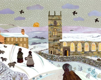 Brontë Sisters Print·Haworth·Snow·Collage·Brontë Parsonage·Winter Walk·Jane Eyre·Wuthering Heights·Gift for Booklovers·Amanda White Design