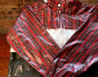 sale -- Vintage 1980s Tartan Plaid Rain Slicker Jacket