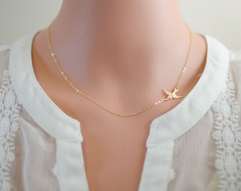 Silver or Gold Minimalist Necklace - Bird Jewelry - All 14k Gold Filled or Sterling Silver