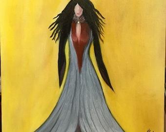 "Lady in gray, original,handmade, acrylic,signed 11x14"""
