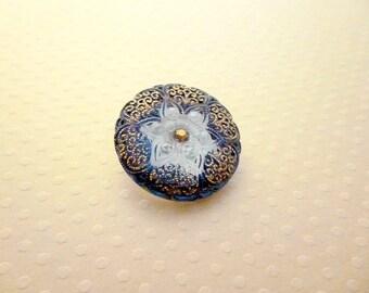 Estrella Czech glass button 27mm - 1264 BCZ27 blue