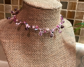 Pink & Purple Beaded Wire Wrapped Choker Necklace
