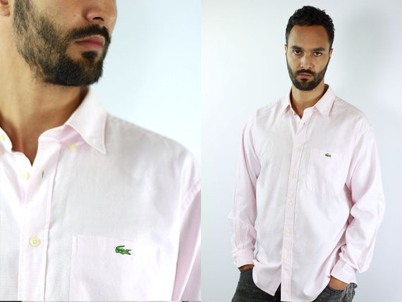 LACOSTE Shirt Pink Lacoste Button Shirt Pink Lacoste Top Lacoste Vintage Oxford Shirt Lacoste Shirt Pink Shirt Lacoste Shirt Long Sleeved